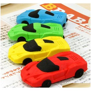 super cute 1pc send random kawaii children sports car pencil erasers rubber eraser for kids school office supplies kids gift c1AwV