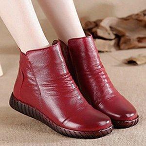 Botas cortas de cuero genuino para mujeres 2020 Zapatos de invierno Femeninas de moda Pliegues Pleated Sneakers High-Top Femmes Toble Boots # WH5M
