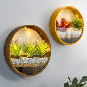 Creative Iron Art Transparent Glass Wall Vase Home Living Room Restaurant Office Wall Planter Succulent Plant Hanging Flower Pot Q1125