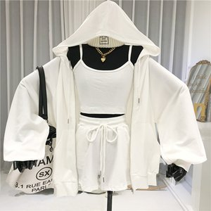 Women 3 Piece Set Zipper Hooded Casual Womens Sweatsuit Matching Sets For Women Joggers Suit Sets 2020 Summer Sports Wear Y1121