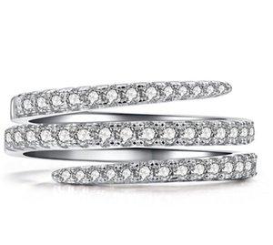 2019 Nueva joyería clásica de la llegada pura 100% 925 plata esterlina pavimenta zafiro blanco cz diamante mujeres boda anillo nupcial 118 O2