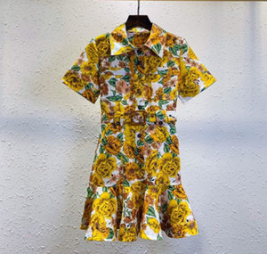Europe station in early spring 2021 new women's dress short sleeves socialite temperament with belt fishtail hemp skirt