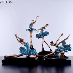 Oggetti decorativi Figurine creativo Ballerina Statua ornamenti in oro argento Resina Figurina Desk Decor Black Base Portrait Decorazione della casa