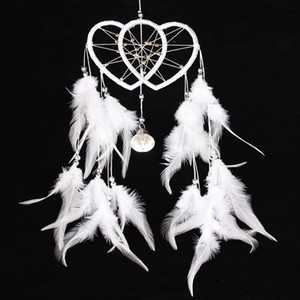 Dream Catcher Double Heart with Feathers Wall Hanging Decoration Ornament Dreamcatcher White Wedding Party Decoration Gift