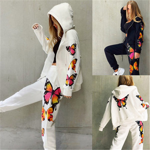 Ladies Butterfly Printing Sets Fashion Long Sleeve Cardigan Zipper Hooded Tops Pant Suits Designer Female Spring Casual Loose Tracksuits