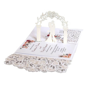 3D Laser cutting Wedding card, White, Ivory, Blue, Gold for choosing invitation greeting card
