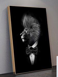 Mr Black Lion In Suit Canvas Wall Art Poster And Prints Fashion Painting Gentleman Animal Picture Home Decor Cuadros Craft Gift