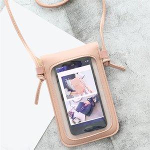 Pantalla táctil transparente Retro Simple Simple Teléfono Móvil 2020 Mujeres PU Cadena Messenger Bags Pequeño Bolsa de solapa Mini hombro