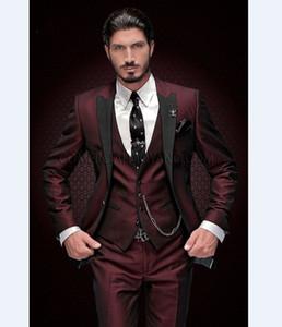Hot Selling Groomsmen Burgundy Groom Tuxedos Peak Black Lapel Men Suits Wedding Prom Dinner Best Man Blazer ( Jacket+Pants+Tie+Vest ) G78