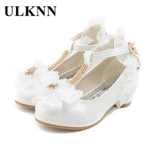 ULKNN Children Party Leather Shoes Girls PU Low Heel Lace Flower Kids Shoes For Girls Single Shoes Dance Dress shoe White Pink Y201028