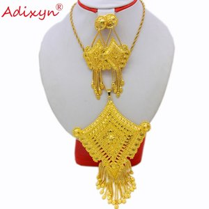 Adixyn Quadrilateral Shape India Necklace Pendant Earrings Jewelry Set For Women Gold Color African Party Gifts free box N12174 Z1201