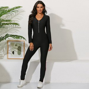 2020 women's new fashion sexy fit high quality pants zipper Stripe Print tight female long sleeve elastic casual sports Jumpsuit