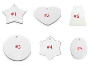 DIY Heat Transfer Blank Ceramic Pendant White Thermal Transfer Coated Round Star Heart Pendents 2021 Christmas Ornaments Decoration F112701