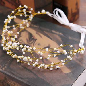 European Crystal Pearl Bridal Hairbands Wedding Veil Headbands Tiaras Women Gold Leaf Hair Band Headwear Girl Bridesmaid Hair Accessories