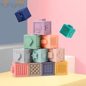 Tumama 12pcs Soft Building Blocks 3D Touch Hand Balls Baby Massage Rubber Teethers Squeeze Toy Bath Toys juguetes bebeGQ1