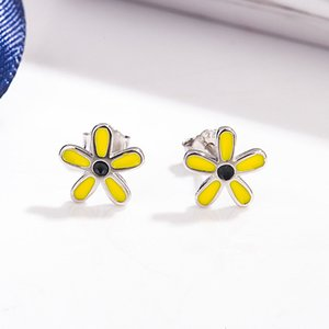 S925 silver Japanese Korean fashion literature and art yellow flower drop glue ear nail temperament sweet five petal Earrings