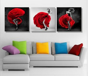 Paintings HD Abstract Canvas For Living Room Wall Art Poster 3 Pieces Retro Modern printing painting of stripper and Rose Decoration Picture