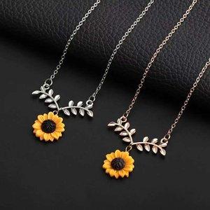 Joyería creativa collar de perlas temperamento femenino girasol moda pendiente conjunto colgante