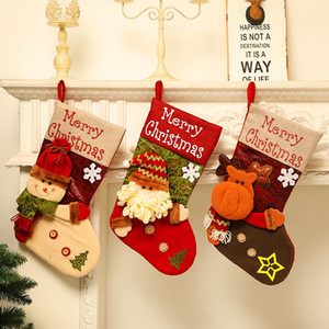 New Christmas Stockings Decor Christmas Trees Ornament Party Decorations Santa Snow Elk Design Stocking Candy Xmas Gifts Bag PPD2973