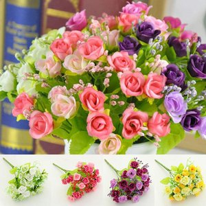 Artificial Flowers Silk Flowers Bouquet Popular 21 Head Rose Colorful High Quality 1PC Wedding Home Decoration Fake Plastic