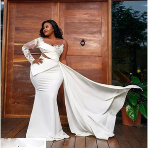 African One Shoulder Plus Size Prom Dresses 2021 Aso Ebi Sheer Neck Lace Ilusion Long Sleeve Mermai Formal Evening Gowns Girls Party Dress