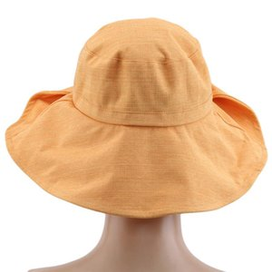 Damen Strand Sonnenhut Faltknopf Sun Bow Hat Reise Outdoor Casual Mode Große Flügel Eimer Kappe