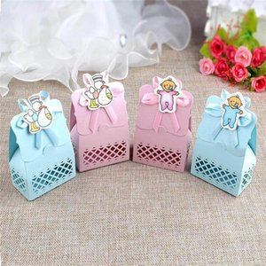 12pcs pack Cardboard Candy Box Baby Birthday Candy Container With Ribbon For Wedding Birthday Gift