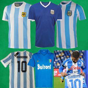 87 88 Napoli 복고풍 축구 유니폼 1986 아르헨티나 Maradona Jersey 1978 레트로 축구 셔츠 남자 키즈 축구 키트 Maillot Camisetas de Futbol