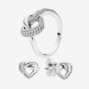 New arrivals Knotted Heart Stud Earrings and Ring sets Original box for Pandora 925 Silver Wedding Love ring earring set for Women