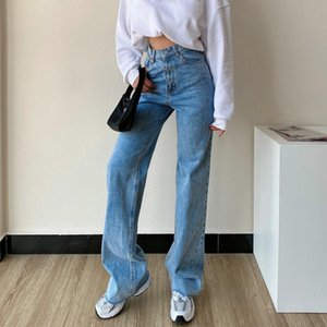 Europe 2021 Jeans Autumn Winter New Straight Loose High Waist Slim Casual Pants Denim Trousers UWO6