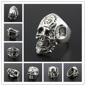 FactoryT5PCMen's Biker JG! Carved New Rings Gothic Skull Anti-Silver Retro Punk Rings For men s Fashion Jewelry Mixed St