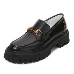 2020 horsebit loafers platform embroidered British style bee ladies small leather single shoes Q1206