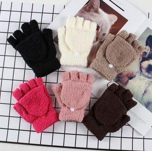 Зимние теплые мужчины женские перчатки милые половинные пальцы поворачиваются на флип вязаные варежки горячие продажи 6 цветов перчатки без пальцев 20 шт.