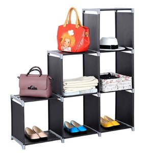 Multifunctional Storage Organizer Closet Assembled 3 Tiers 6 Compartments Storage Shelf Black Closet Stacker Clothes Modular Cubes