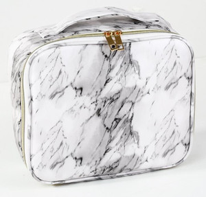 Tolietry Kits Women PU Marble Printing Waterproof Travel Large Capacity Cosmetic Bag White and Black for best gift Sport Outdoor