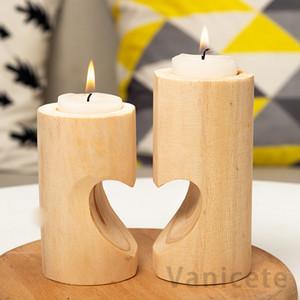خشبي حلوة القلب شمعة حامل الزفاف الديكور من الجدول شمعة حاملي الإبداعية خشبية مربع الشاي مصباح شمعة حامل 50 قطع T1I3360