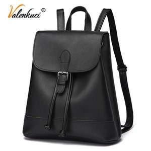 Mochila de moda de Valenkuci para mujeres adolescentes niñas PU de cuero de viaje bolsas de cremallera de mujer Mochilas para mujer Bolsas de la escuela Señoras 2021