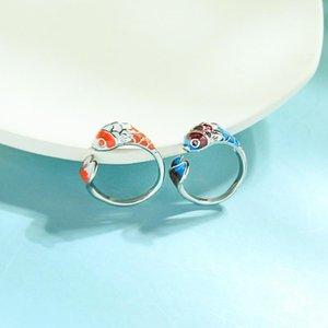 Cluster Ringe ethnisch japanisch blau / orange Emaille Fischring für Frauen Handgemachte Großhandel Mode Termin Datum Geschenk Schmuck