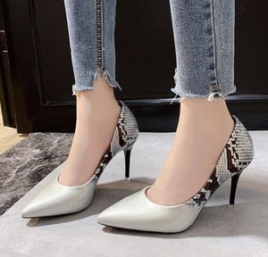 pointed toe pumps Women prints leather High Heels shoes shallow sandals sexy Slip on Single Shoe Slides high quality
