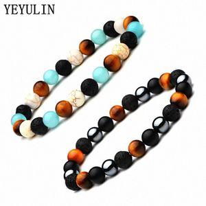 New 8mm Colorul Stone Beads Bracelet Tiger Eye Lava Stone Hematite Elastic Bangle Jewelry For Woman Man 994V#