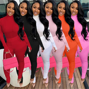 Ladies Solid Colors 2Pcs Sets Fashion Trend Long Sleeve High Neck Tops Pants Suits Designer Female Spring New Skinny Casual Folds Tracksuits