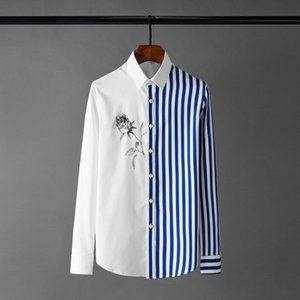 Classic Stripe Mens Shirts Luxury Long Sleeve Rose Printed Casual Male Shirts 4xl Fashion Slim Fit Party Man