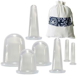 7шт / комплект силиконовые вакуумные массажные устройства присоски чашки для похудения массажные чашки для тела лица китайский пузырь для