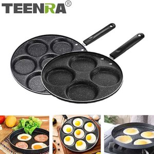 TEENRA Four-hole Frying Pot Thickened Omelet Pan Non-stick Egg Pancake Steak Pan Cooking Egg Ham Pans Breakfast Maker Q1208