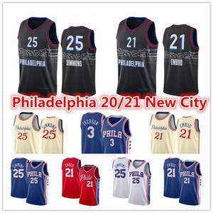 남성 Joel 21 Embiid Jersey Ben 25 Simmons Matisse 25 Thybulle Sixers2021 Allen 3 Iverson 도시 블루 블랙 농구 유니폼