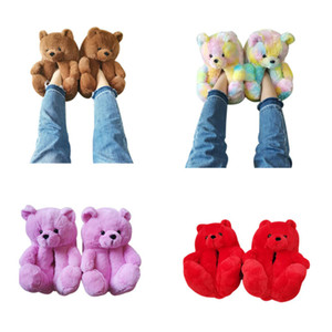 Zapatillas de invierno cálido Zapatos de mujer oso de felpa zapatillas antideslizantes suaves para damas de interior de la casa linda dibujos animados divertido kigurumi