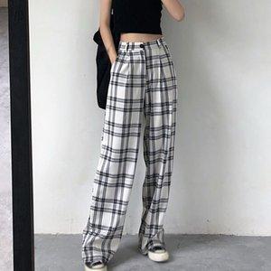 Casual Hosen Frauen Etosell Plaid Gerade Lose Koreanische Stil Vintage Studenten PrePpy Streetwear Teens Mode BF