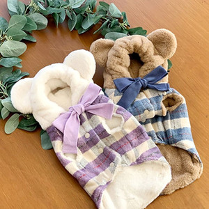 Winter Pet Thick Plush Warm Cute Bear Hat Hoodie Clothes Dog Plaid Bowknot For Small Medium Dogs Chihuahua pug Y1124
