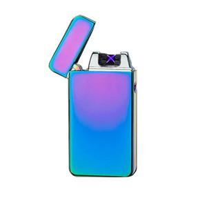 USB Carga de encendedor de cigarrillos electrónicos Doble Fire Cross Twin Arc Pulse Eléctrico Encendedor Metal Portátil Portátil Aprecio a prueba de viento DWD3249