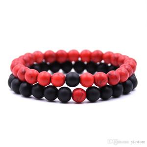 Hot sale Distance Bracelets for Lovers 2pcs set Natural Stone Beads Couple Bracelet Valentine's Day Jewelry
